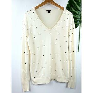 Ann Taylor v-neck rhinestone detail sweater L